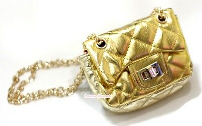Metallic Gold Check Metal Chain Girl Handbag Kid Shoulder Bag Children Purse