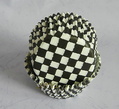 50 black white chess board cupcake liners baking paper cup muffin case