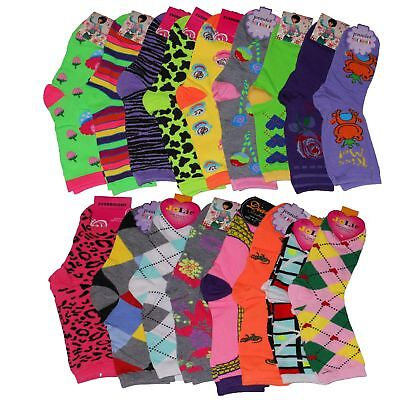 Lot Of 12 Pair Women's Crazy Fun Assorted Prints Design Crew Socks Size 9-11 NEW
