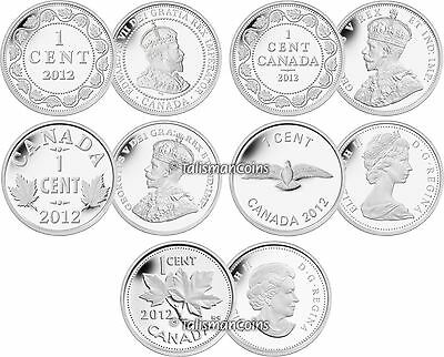 Canada 2012 Farewell to Penny One 1 Cent Pure .9999 Silver 5 Coin Proof Set