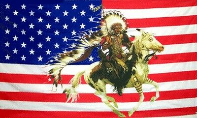 Indian Chief & Horse US Flag 3x5 ft USA United States America American Headdress