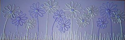 ORIGINAL ABSTRACT CANVAS PAINTING FLOWERS LILAC SILVER PURPLE DEE FUNKY ART