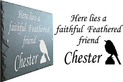Pet Memorial Slate Sign Plaque - Personalised to your requirements for your Bird