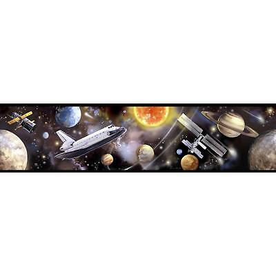 OUTER SPACE TRAVEL Peel and Stick WALLPAPER BORDER Planets Rocket Wall Decor