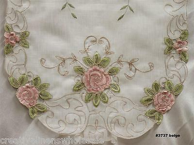 Spring Embroidered Pink Rose Floral Sheer Placemat Table Runner Tablecloth 3737E
