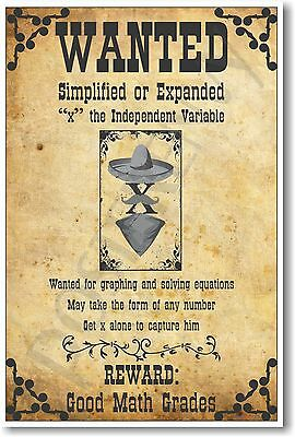 Wanted: X, The Independent Variable - NEW Humorous Algebra Mathematics POSTER