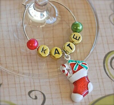 Christmas Wine Glass Charm Personalised/Any Name -Table place card decoration