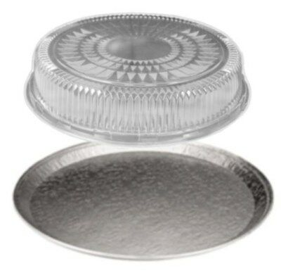 """16"""" Round Flat Aluminum Foil Catering Tray w/Clear Dome Lid -Disposable Pan 50's"""