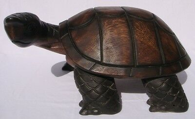 Handcarved Wooden Walking Turtle with Turned Head from Thailand 57cm Size