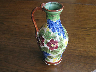 "Antique Handpainted ""peacock-Flower & Fruit"" 7 1/2 Tall Pitcher-Vase With Handle"