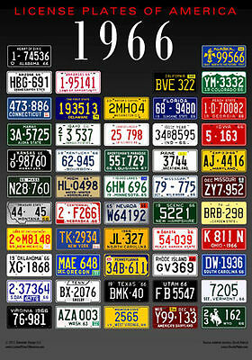License Plates of America poster - 1966