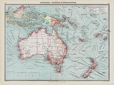 Australasia Industries & Communications- old Map in 1908