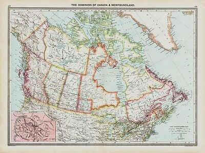 CANADA old Map in 1908