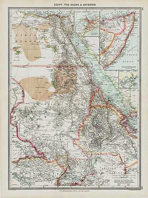 Egypt & The Sudan old Map repro  in 1908