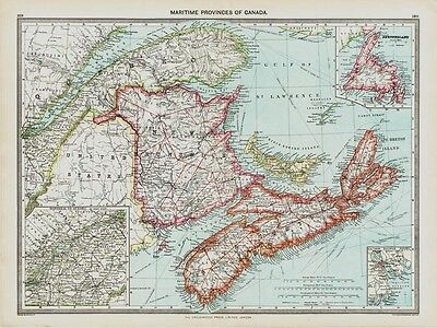 Maritime Provinces of Canada old Map in 1908