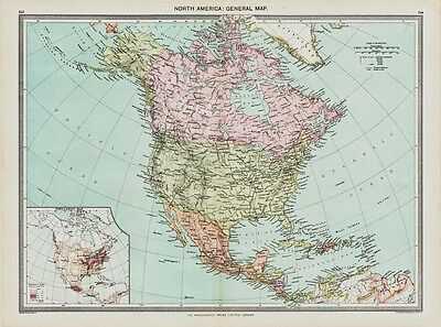 North America Map in 1908 old map