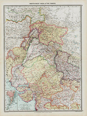 North West India & Pamirs Map in 1908 old map