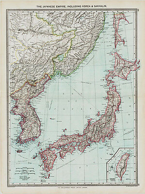 The Japanese Empire, Including Korea & Sakhalin  Map  in 1908