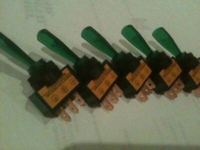 *5 pack* Illuminated toggle switch with GREEN light