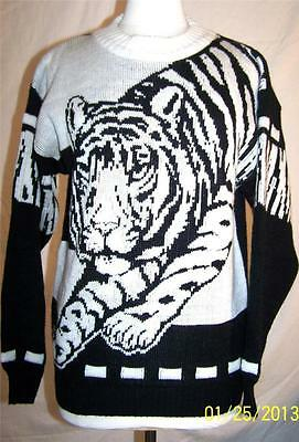 Vtg 80's Gabrielle Novelty Cosby Black White TIGER Slouch Sweater Jumper sz S