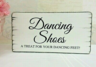 Dancing Shoes Flip Flops Wedding Table Sign Free Standing Shabby Vintage