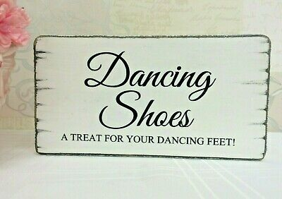 481589d95 Rustic Wedding Signs Dancing Shoes Flip Flops Chic Shabby Wood Table  Decoration