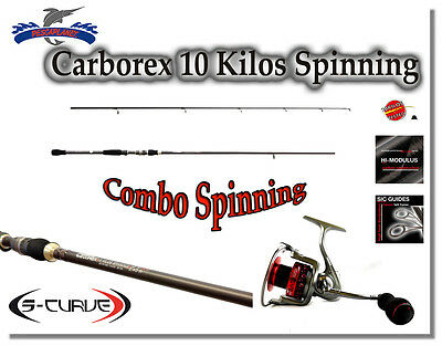 Kp718 Combo Spinning Canna Pesca Carborex Hi Modulus 240 Cm + Mulinello 11 Bb