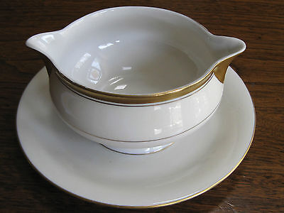 "THEODORE HAVILAND, NEW YORK, BERKELEY GOLD/WHITE 3"" HIGH ROUND GRAVY DISH,MARKED"