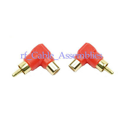 2x Right angle 90 degree RCA male to female audio video adapters gold connector