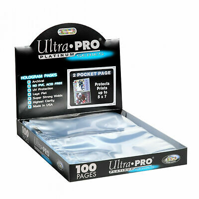 300 Ultra Pro Platinum 2 Pocket 5X7 Card Pages  Sheets