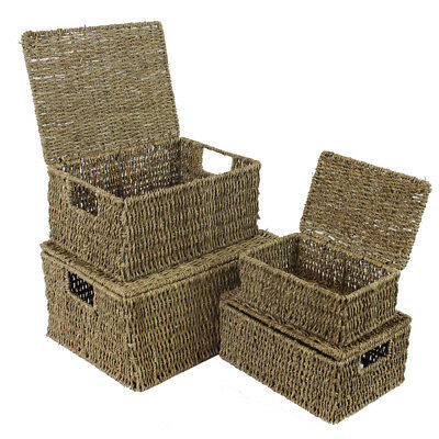 JVL Set of 4 Seagrass Storage Boxes Baskets with Hinged Lids Inset Handles