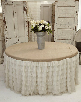 Large Ivory and Burlap Tablecloth