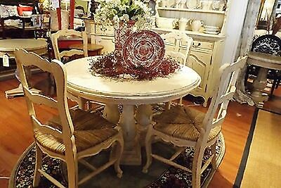 "French Country Column Dining 48"" Round Dining Table Off White Distressed"