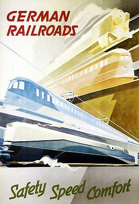 German railroads - vintage repro wall poster in 4 sizes