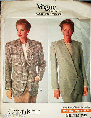 a20eed5ae20 Miss Vogue 2393 Calvin Klein UNCUT Sewing Pattern Jacket Size 6-8-10 OOP