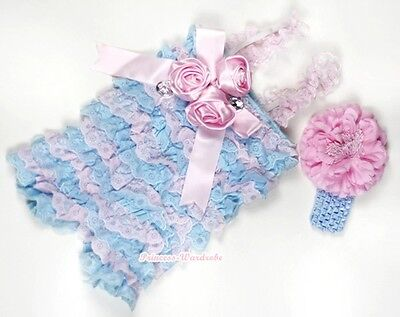 Baby Girls Blue Pink Lace Rose Rosette Crystal Romper & Headband Peony NB-3Year