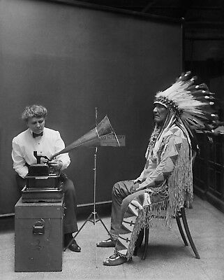 Blackfoot Chief Mountain Chief Makes Record At Smithsonian  8X10 Photo (Ep-621)