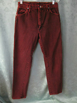 VTG 80's Wrangler Size 11 Maroon Over dye Jeans Made in USA High Waist