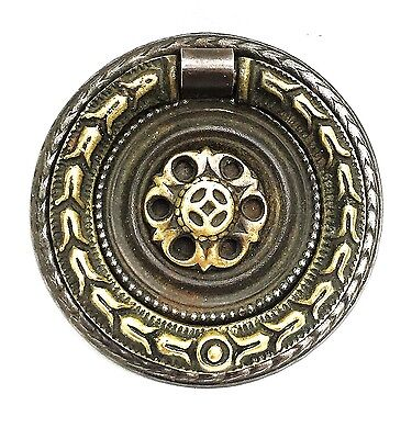 French Empire Federal Brass round antique hardware drawer pull ring pull