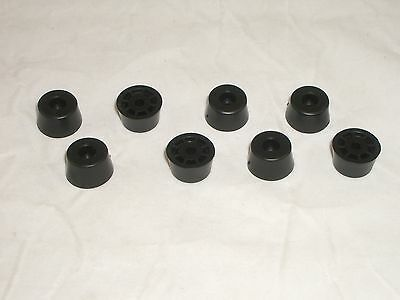 Budwig Tf6N-P 8Pc Black Plastic Cabinet Case Feet Bumpers For Vintage Radio