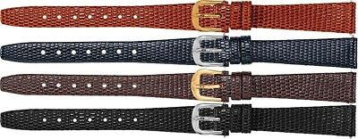 New Ladies Flat Lizard Grain Leather Watch Strap Band