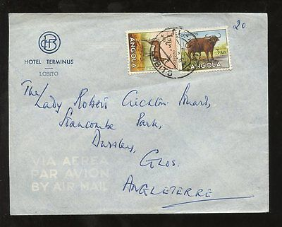 ANGOLA 1961 HOTEL TERMINUS ENVELOPE LOBITO to DURSLEY GB