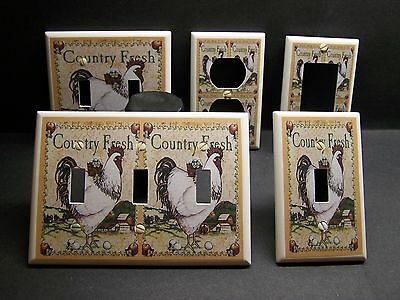 White Rooster Country Farm Kitchen Decor Light Switch Or Outlet Cover V372