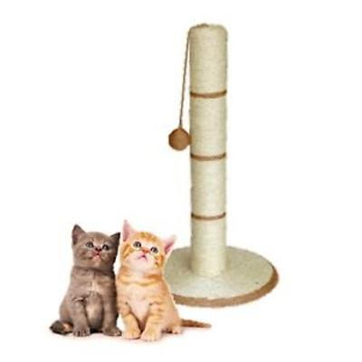 Cat Kitten Scratcher Scratching Scratch Post Large 62cm Tall + Sisal Toy Beige