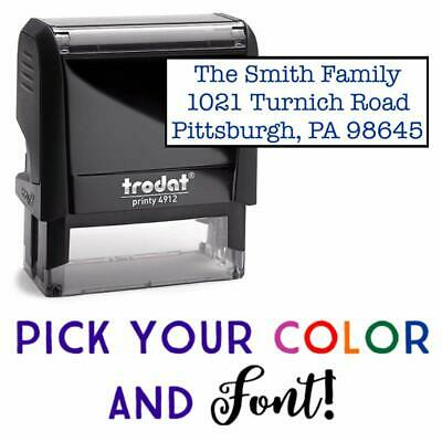 Address Stamp, 1-5 Lines of Text Custom Stamp, Self-Inking Address Stamp