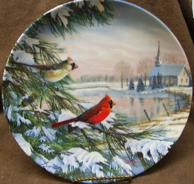 Vintage 1990 Cardinals in Winter 1st Birds of the Seasons Sam Timm Knowles China