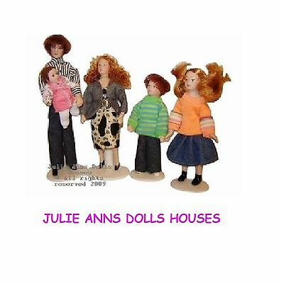 DOLLS HOUSE PEOPLE DOLL FAMILY OF 5  FUNKY, 12 th SCALE MINIATURE, MODERN