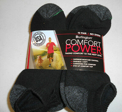 Short No Show Black BURLINGTON Comfort Men Athletic Socks 10-pk Thick 69% Cotton