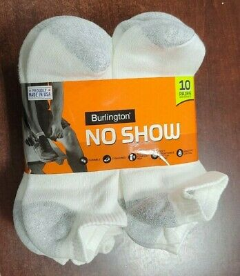Short No Show White BURLINGTON Comfort Men Athletic Socks 10-pk Thick 70% Cotton