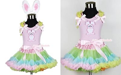Pale Rainbow Pettiskirt Dress Easter Bunny Rabbit Light Pink Top EAR Set 1-8Year